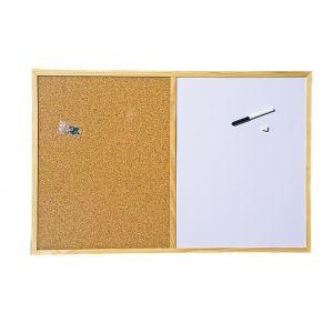 Бяло и корково табло с дървена рамка 60х90 cm